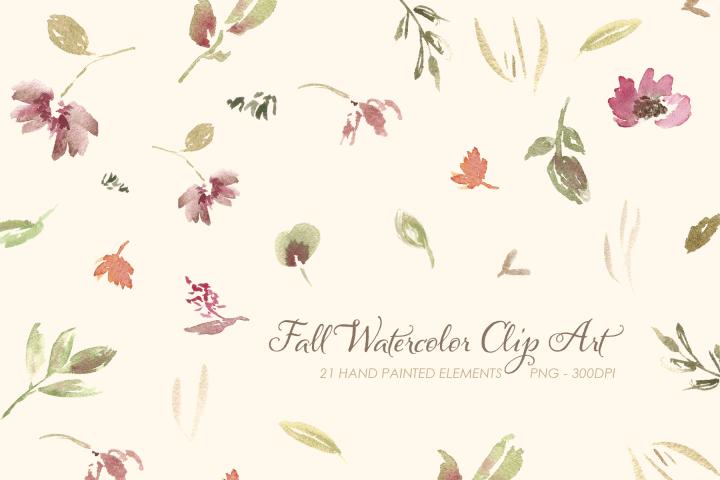 Fall Watercolor Clip Art Set #1