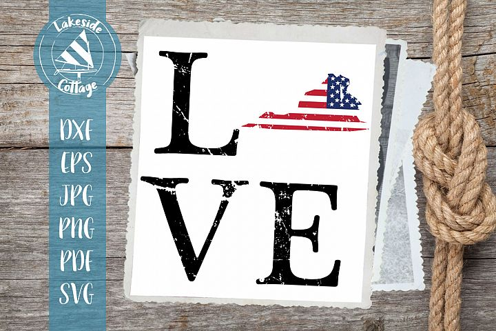 LOVE Virginia - 4th of July svg - Memorial Day svg dxf eps