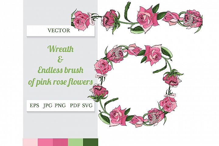 Wreath and endless brush of hand drawn pink rose flowers.