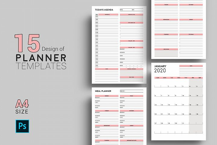 Daily / Weekly Planner Template | Psd & JPG Files Included