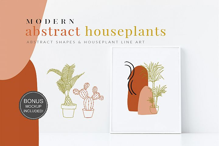 Abstract Shapes & Houseplants Line Art Vector Cliparts