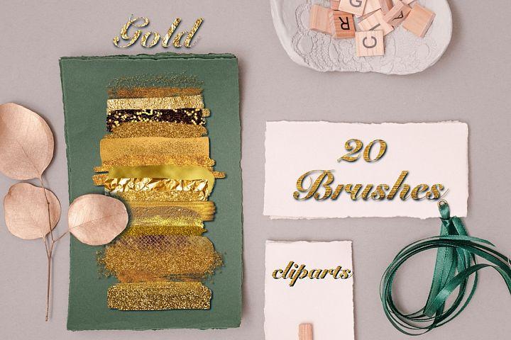Gold Brush Strokes Cliparts