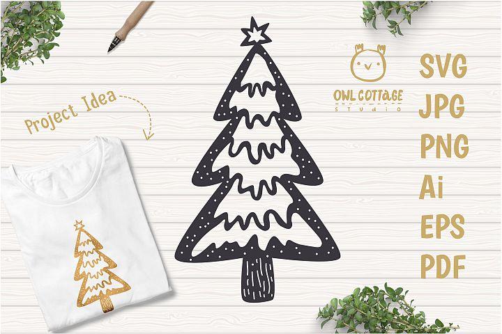 Scandinavian Style X-mas Tree SVG, Christmas Decor Cut File