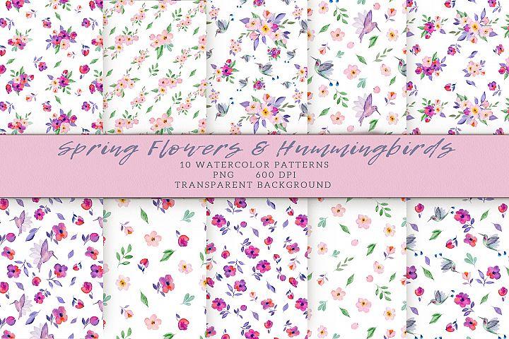 Flowers & Hummingbirds Seamless Patterns