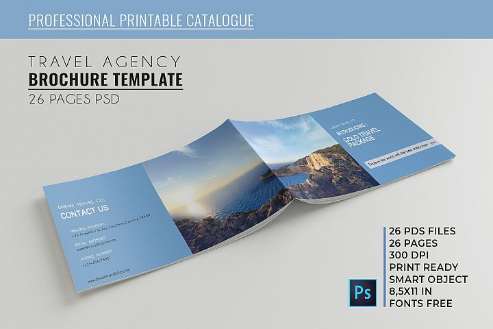 Travel Agency Printable Catalogue - A5-26 PSD Templates