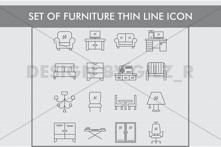 Set of Furniture Thin Line Icons