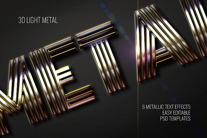 3D Light Metal Text Effect - 6 Editable PSD Templates