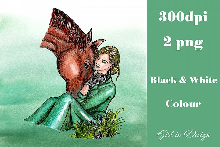 Girl in a Green Dress with a Horse Clipart