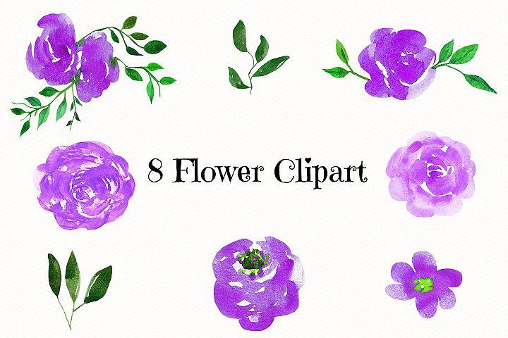 Wedding, Wedding Invitation Clipart, watercolor Flowers example 1