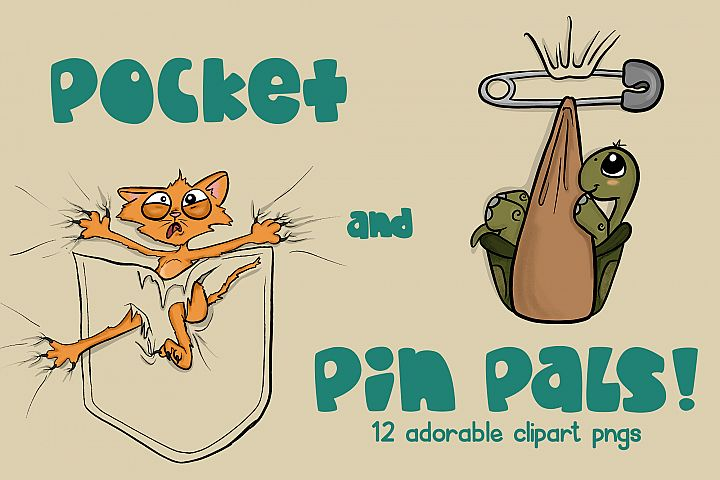 Animal Pocket Pals | Pin Pals | Animals PNGs| Adorable PNG
