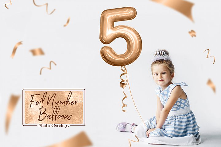 Foil Number Balloons Photo Overlays