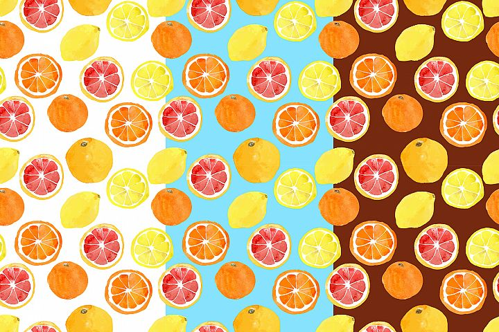 Watercolor vector citrus fruits example 8