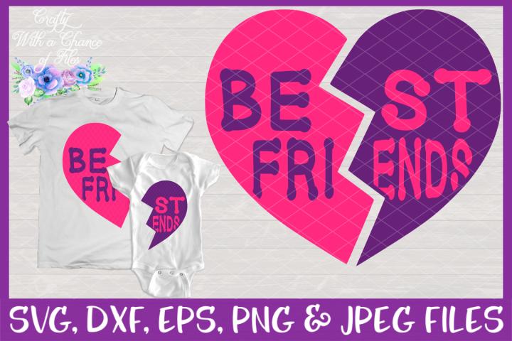 Best Friends Heart SVG - Matching Siblings Valentine Design