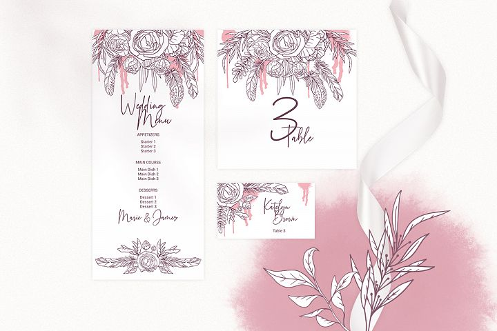 Boho Wedding Invitation Cards. Floral Printable Template example image 3