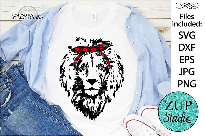 Lion Face with Bandana Design SVG Digital Cutting files 424