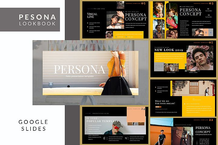 Pesona Dark Lookbook Google Slides Presentation