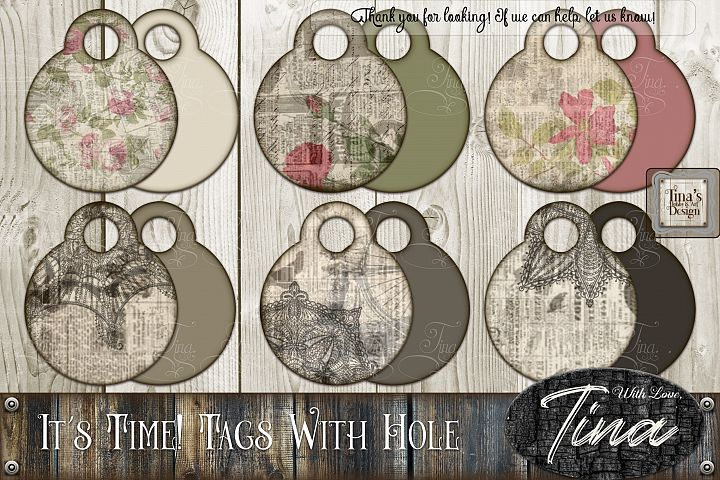 Its Time Newsprint Roses Lace Doily Tags