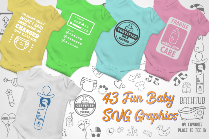 Baby SVG Bundle with 43 Graphics illustrations for onesies.