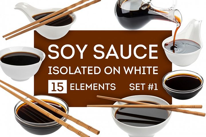 Soy sauce bundle, isolated on white