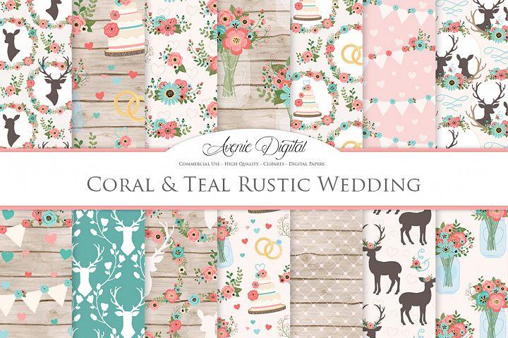 Coral and Teal Wedding Digital Paper -  Rustic Deer Wedding Seamless Patterns