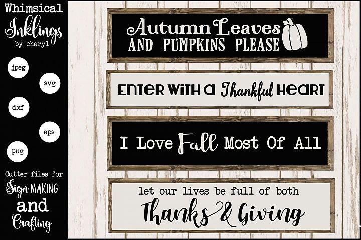 I Love Fall SVG Sign Set