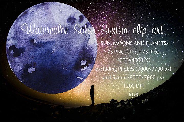 Watercolor Solar System clip art
