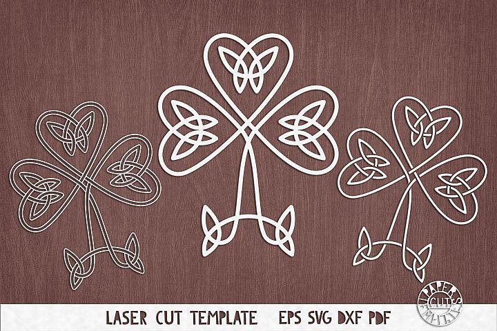 SVG Shamrock, Celtic knot clover cut file for Cricut, laser.
