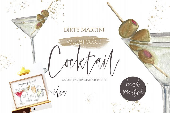 Dirty Martini Cocktail Watercolor Clipart Illustration