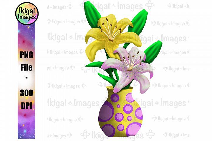 Tiger Lily Vase Sublimation PNG File Spring Flowers Clipart