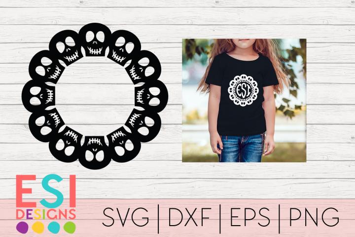 Skull Circle Monogram Frame|SVG DXF EPS PNG
