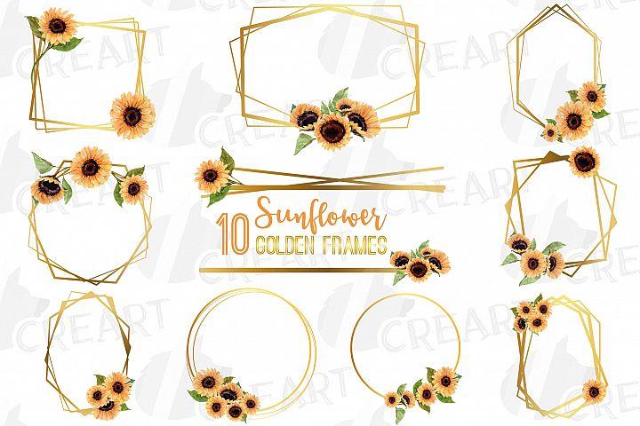 Watercolor elegant sunflower geometric golden frame template