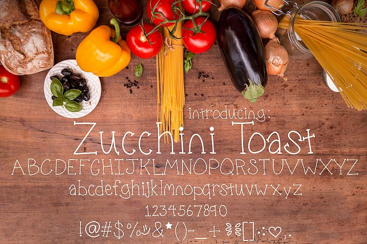 Zucchini Toast, A handwritten fun font with extras