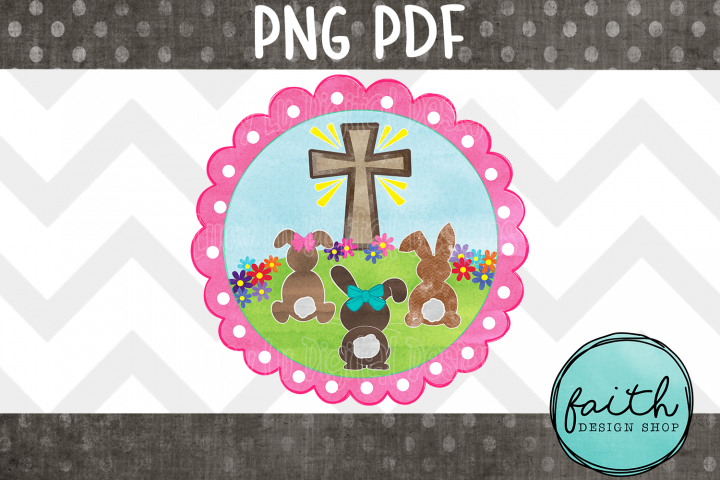 EASTER - Cross and Bunnies - Pink Frame, pdf, png