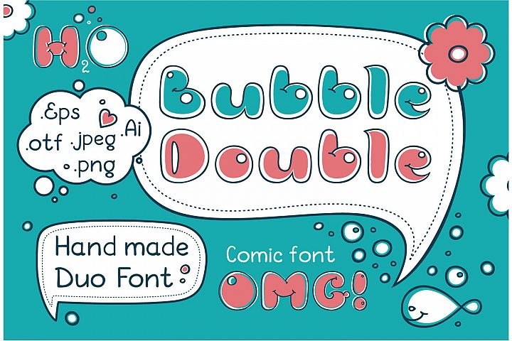 Bubble Double Duo font. Comic Alphabet. Handwritten calligraphy lettering for phrase and quotes.