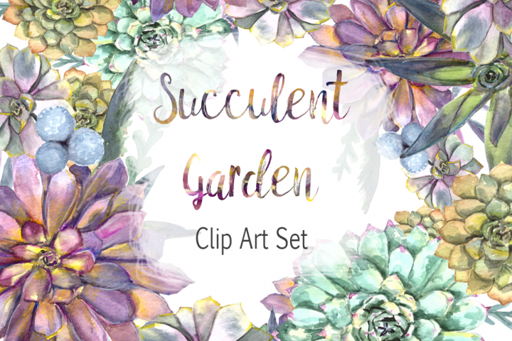 Watercolor Succulent Garden Clip Art Set