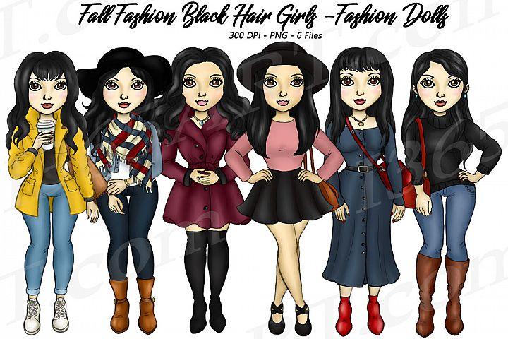 Fall Fashion Autumn Girls Black HairPlanner Clipart Set