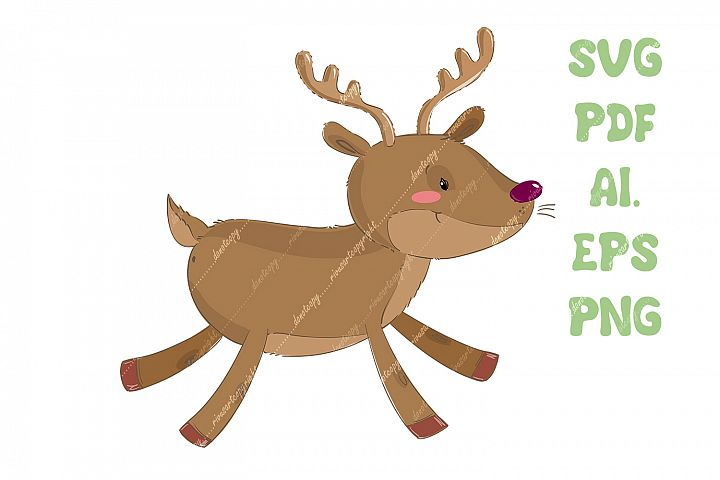 Christmas reindeer SVG download, deer PNG, North nature