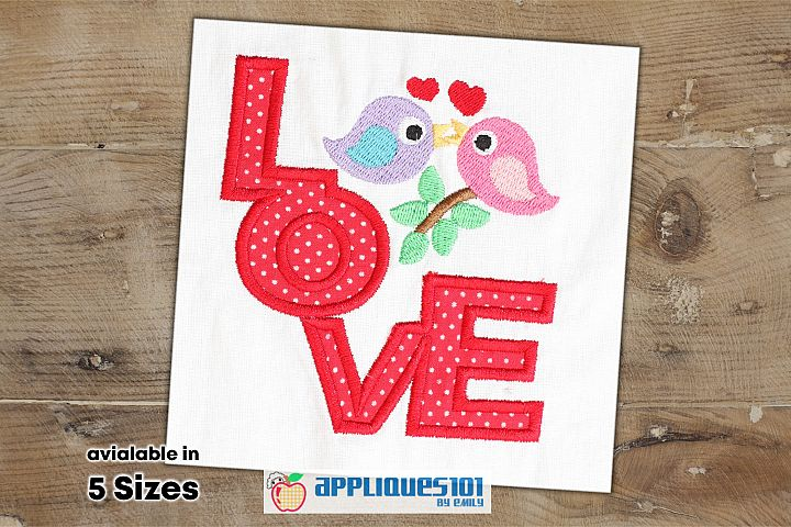 Love Birds Machine Embroidery Applique Design - Birds