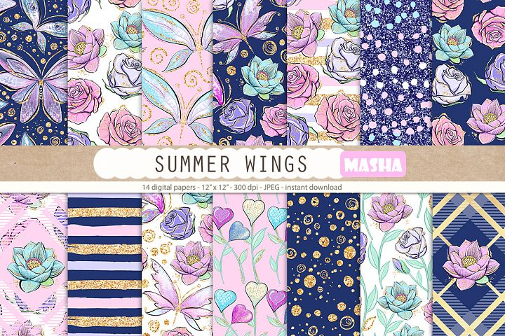SUMMER WINGS digital papers