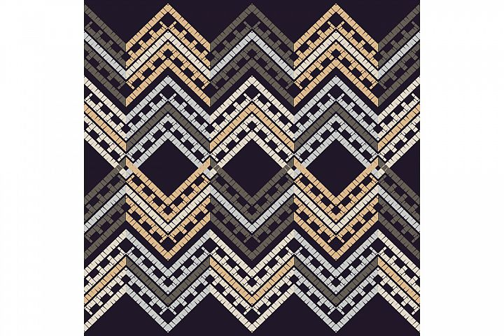 Ethnic boho ornament. Zigzag. Set of 10 seamless patterns.