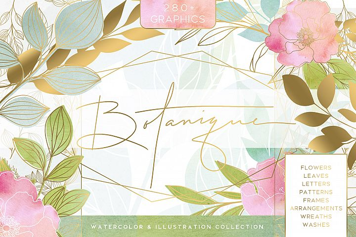 Botanique - Floral Watercolor Graphics Kit