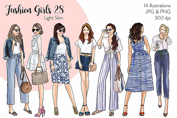 Fashion illustration clipart - Fashion Girls 28 - Light Skin