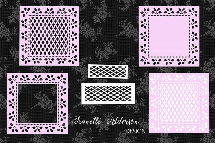 Square Holly cutout Christmas card set cutting file