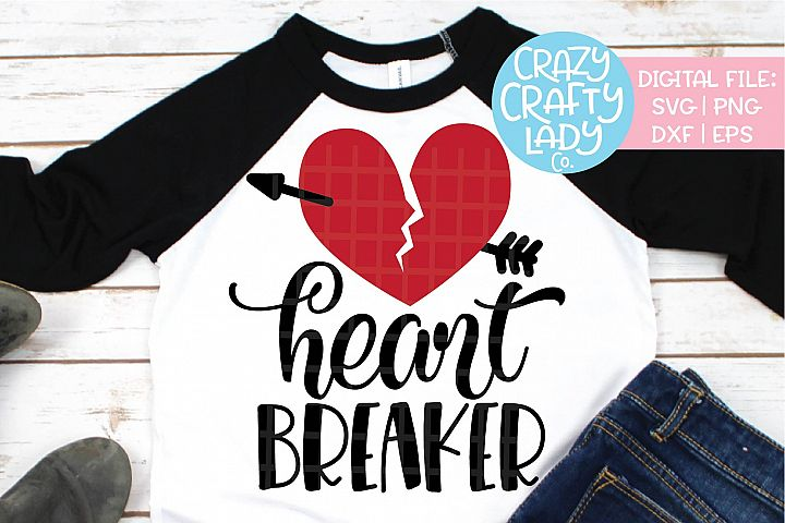 Heart Breaker Girl Valentines Day SVG DXF EPS PNG Cut File