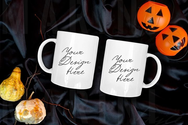 Two Mug mockup, Halloween Double Coffee mug Mock up,1082