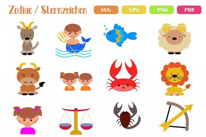 12 Cute Zodiac Signs - Files for Crafters