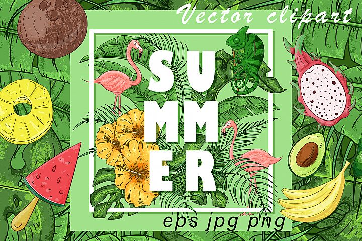 Summer Vector clipart and pattern