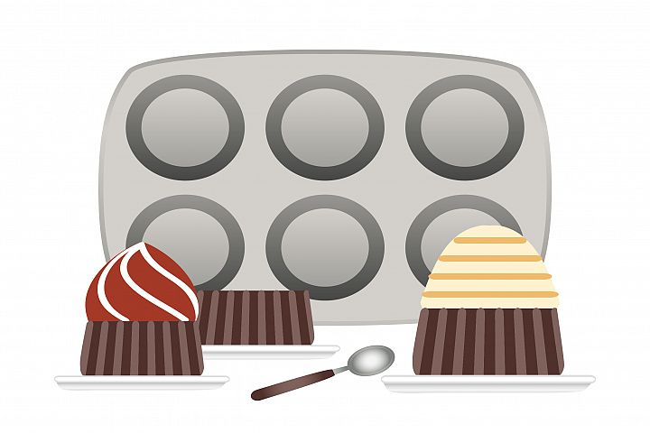 Baking pans for cupcakes and cupcake in plate, flat vector