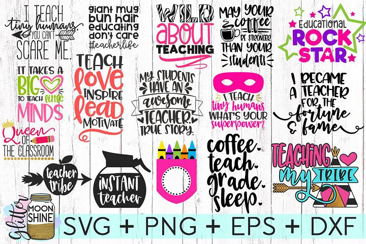 Huge Teacher Bundle of 16 SVG DXF PNG EPS Cutting Files