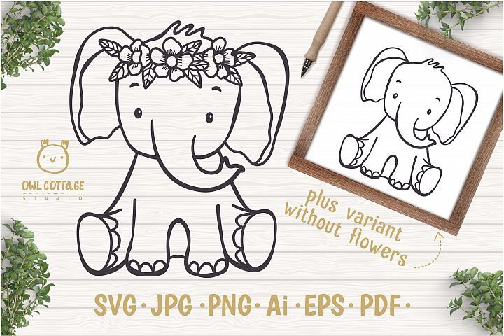 Little Elephant with Flowers Crown Svg , Baby Elephant Cut F